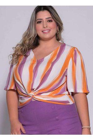 Melonica Mulher Blusa - Blusa Torcida Almaria Plus Size Estampada
