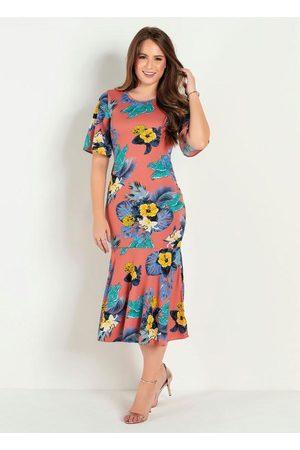 ROSALIE Mulher Vestido Estampado - Vestido Justo Floral Ferrugem Moda Evangélica
