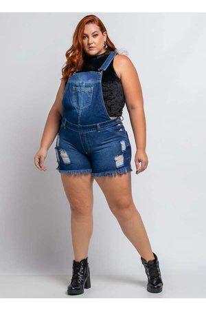 Shyros Mulher Macaquinho - Jardineira Curta Almaria Plus Size Jeans Az