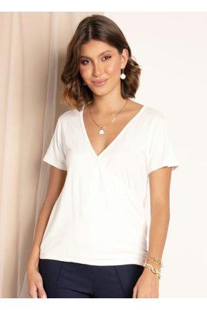 QUINTESS Mulher Blusas de Manga Curta - Blusa Off White com Frente Transpassada