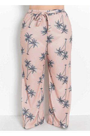Marguerite Mulher Calça Pantalona - Calça Folhagem com Amarração Plus Size