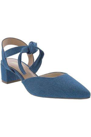Gabriela Mulher Scarpim & Peep toe - Scarpin Salto Bloco Amarração Jeans