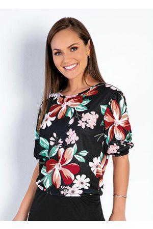ROSALIE Blusa Floral Preta com Elástico Moda Evangélica