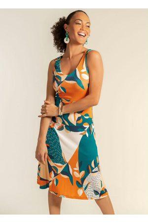 Cativa Mulher Vestido Estampado - Vestido Midi com Alça Estampado