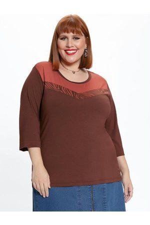 Mink Blusa Plus Size Bordô com Recorte
