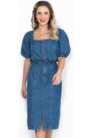 Colcci Mulher Vestido Médio - Vestido Midi Jeans