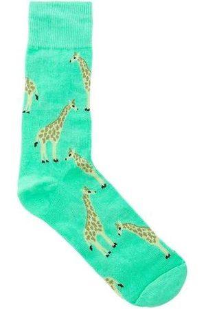 Stz Meia Cano Alto 39 Ao 43 Girafa Verde Colorido