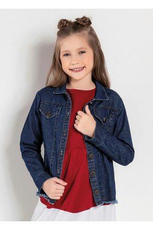 Kolormagic Menina Jaqueta Jeans - Jaqueta Infantil Jeans Escuro com Barra Desfiada