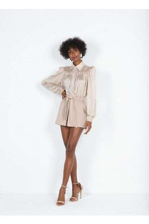 Dimy Mulher Camisa Manga Curta - Body Camisa com Passamanaria