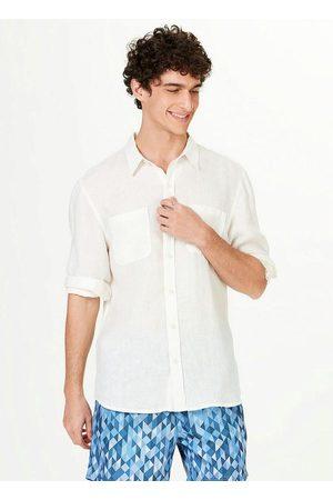 Hering Camisa Masculina em Tecido de Linho com Bolsos Off