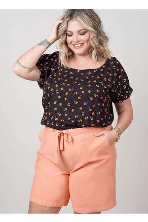 Newumbi Blusa Estampada Almaria Plus Size New Umbi Decote