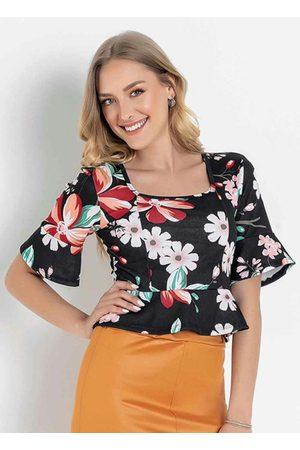 MODA POP Mulher Blusa - Blusa Floral Preta com Decote Quadrado