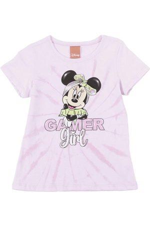 Disney Menina Blusas de Manga Curta - Blusa em Meia Malha com Estampa Lilás