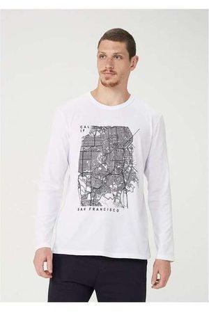 Hering Homem Camisolas de Manga Curta - Camiseta Masculina Manga Longa com Estampa Localiz
