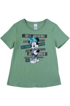 Disney Menina Camiseta - T-Shirt em Meia Malha com Bordado