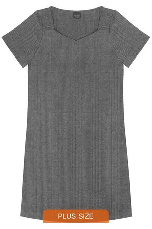 Rovitex Plus Size Vestido Plus Size Canelado