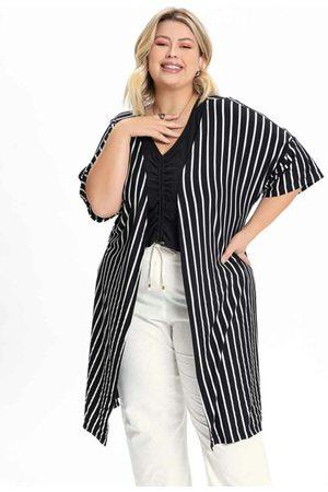 Mink Kimono Plus Size Listrado com Manga Curta