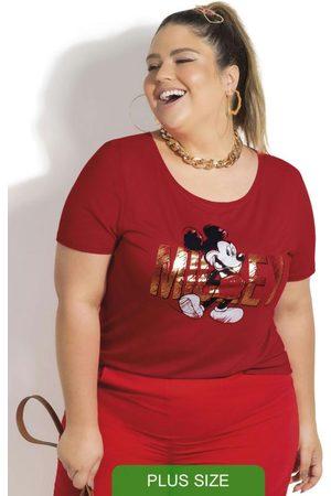Disney Mulher Blusas de Manga Curta - Blusa Plus Size em Viscose Estampada