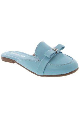 Gabrielinha Menina Sapato Mule - Mule Detalhe em Laço Pespontos Az