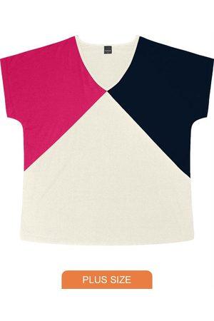 Rovitex Plus Size Blusa Feminina Tricolor