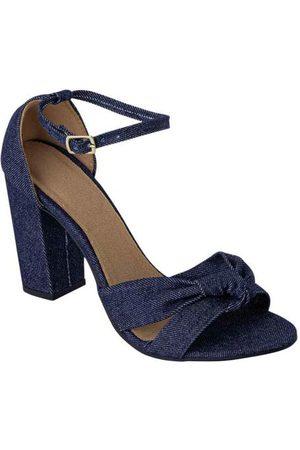 Perfecta Sandália Jeans em Tecido com Amarração