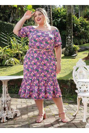 Marguerite Vestido Floral Ombro a Ombro Plus Size