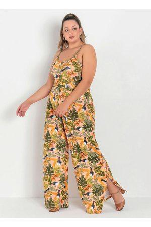 Marguerite Macacão de Alças Folhagem Plus Size