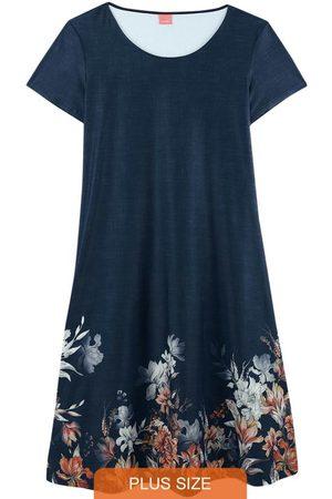 Malwee Plus Vestido Marinho Floral em Liganete