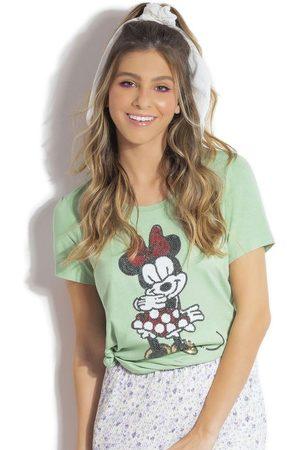Disney Mulher Camiseta - T-Shirt em Meia Malha com Bordado