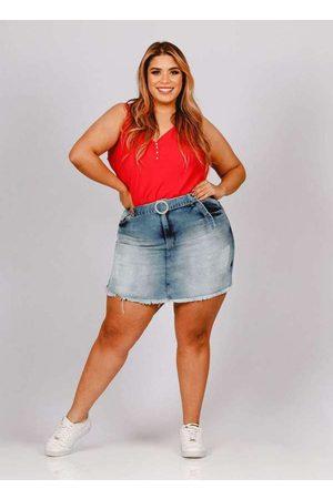 Fact Jeans Shorts Saia Almaria Plus Size Fact Desfiado Jeans