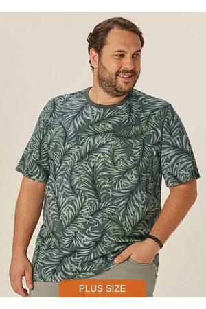 Malwee Plus Homem Camisolas de Manga Curta - Camiseta Musgo Tradicional Folhagem