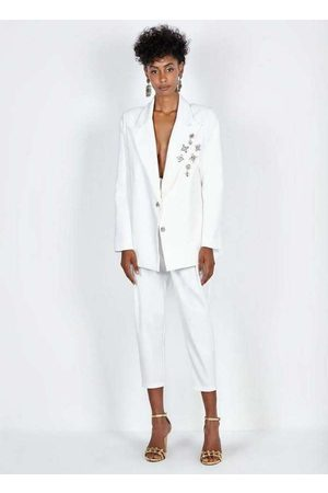 Dimy Mulher Blazer - Blazer Bordado c/ Broche Conceito Off White