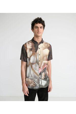 National Gallery Homem Camisa Manga Curta - Camisa Manga Curta em Viscose Estampa Venus and Mars | | Multicores | M