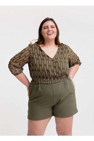 Tal Qual Mulher Blusa - Blusa Cropped Almaria Plus Size Estampada