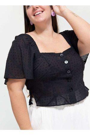 Tal Qual Blusa Cropped Almaria Plus Size Decote Pr