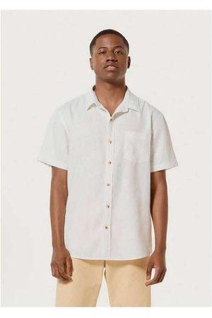 Hering Homem Camisa Manga Curta - Camisa Básica Masculina em Tecido Linho Off-White