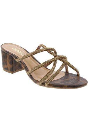 Gabriela Mulher Sapato Mule - Tamanco Salto Grosso Tiras Cruzadas com S