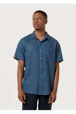 Hering Homem Camisa Manga Curta - Camisa Básica Masculina em Tecido Linho -Medio