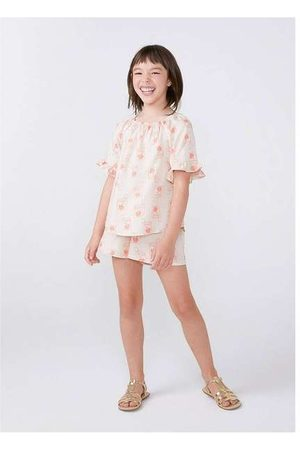 Hering Menina Blusas de Manga Curta - Bata Infantil Menina em Viscose Ombro a Ombro Heri