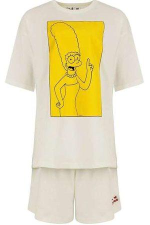 Hering Mulher Pijamas - Pijama Manga Curta Feminino os Simpsons Off-White
