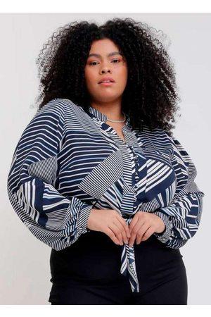 Pianeta Mulher Camisa Manga Curta - Camisa Cropped Almaria Plus Size Estampada