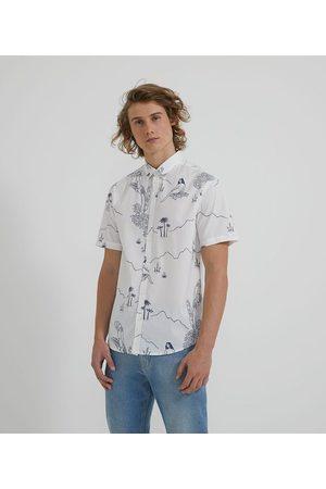 Ripping Homem Camisa Manga Curta - Camisa Manga Curta em Algodão Estampa Mística Sereia e Coqueiros       P