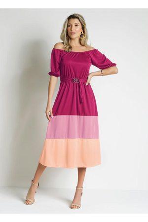 ROSALIE Vestido Tricolor Comfivela Moda Evangélica