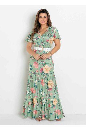 ROSALIE Vestido Camadas Floral Moda Evangélica