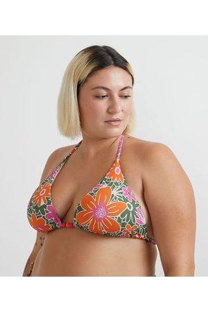 Ashua Curve e Plus Size Mulher Bikini - Biquíni Top Cortininha em Poliamida com Estampa Floral Curve & Plus Size | | | GG