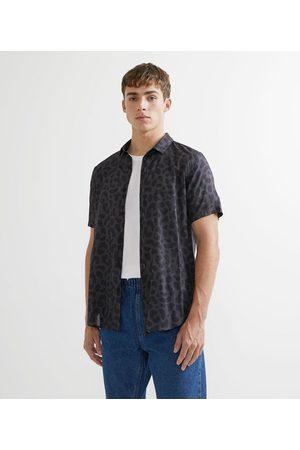 Blue Steel Homem Camisa Manga Curta - Camisa de Viscose Estampa Animal Print Onça | | | PP
