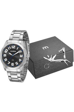 Mondaine Kit Relógio com Pulseira em Aço Prata e Caixa em Metal Prata 99130G0MVNE1KH     claro   U