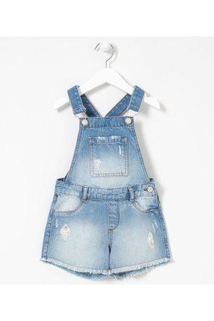 Fuzarka Criança Jardineira - Jardineira Infantil em Jeans com Puídos - Tam 5 a 14 anos | | | 5-6