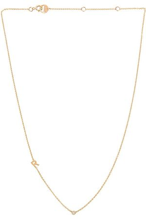 BYCHARI Asymmetrical Initial & Diamond Necklace in Metallic Gold. - size A (also in C, H, M, N)