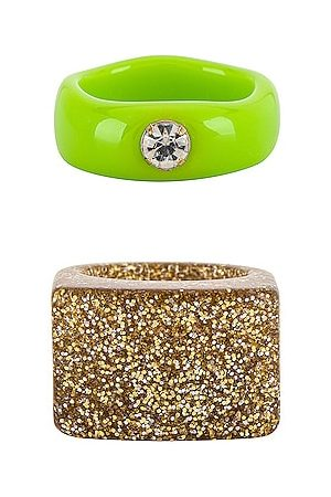 8 Other Reasons Mulher Anéis - Goddess Ring Set in Green.